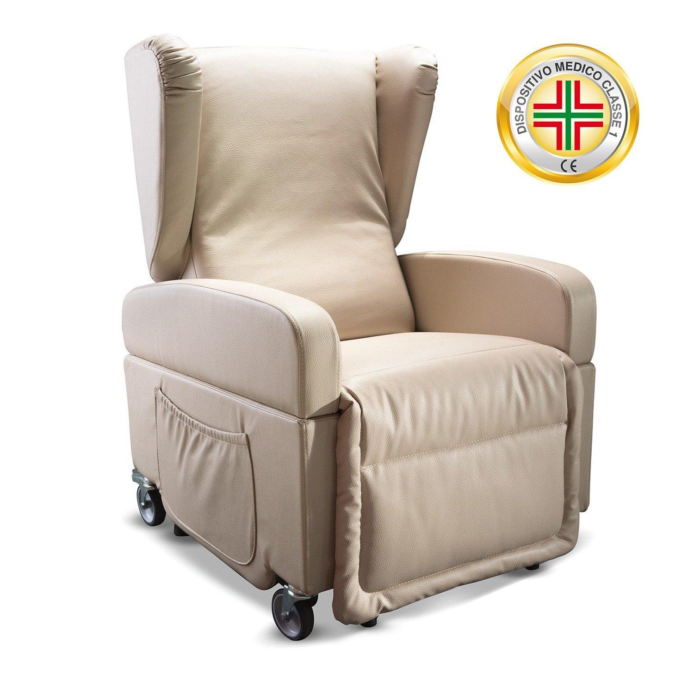 Goldflex - Poltrona Mod. Good Relax, 2 MOTORI reclinabile per ANZIANI o DISABLI con sistema ALZAPERSONA, e KIT 4 RUOTE Piroettanti e Frenanti, Poltrona Trasportabile e Movibile, MANIGLIONE spingi persona e Telecomando IVA AGEVOLATA al 4% - reclinazione sch