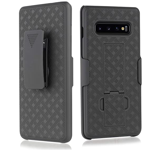 premium selection ff342 69d3b Compatible for Samsung Galaxy S10 Case, Belt Clip Case - Slim Fit Holster  Shell Combo w/Rubberized Grip [Screen Protector]