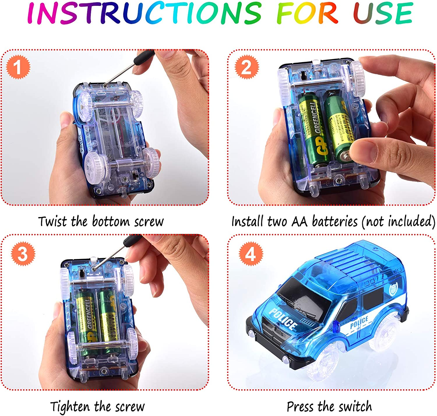 INLAIER Track Cars Compatible with Most Tracks Light Up Replacement Car Toys Best Gift for Boys and Girls 3 Pieces LED Toys Glow in The Dark Car Tracks Accessories with 5 Flashing LED Lights