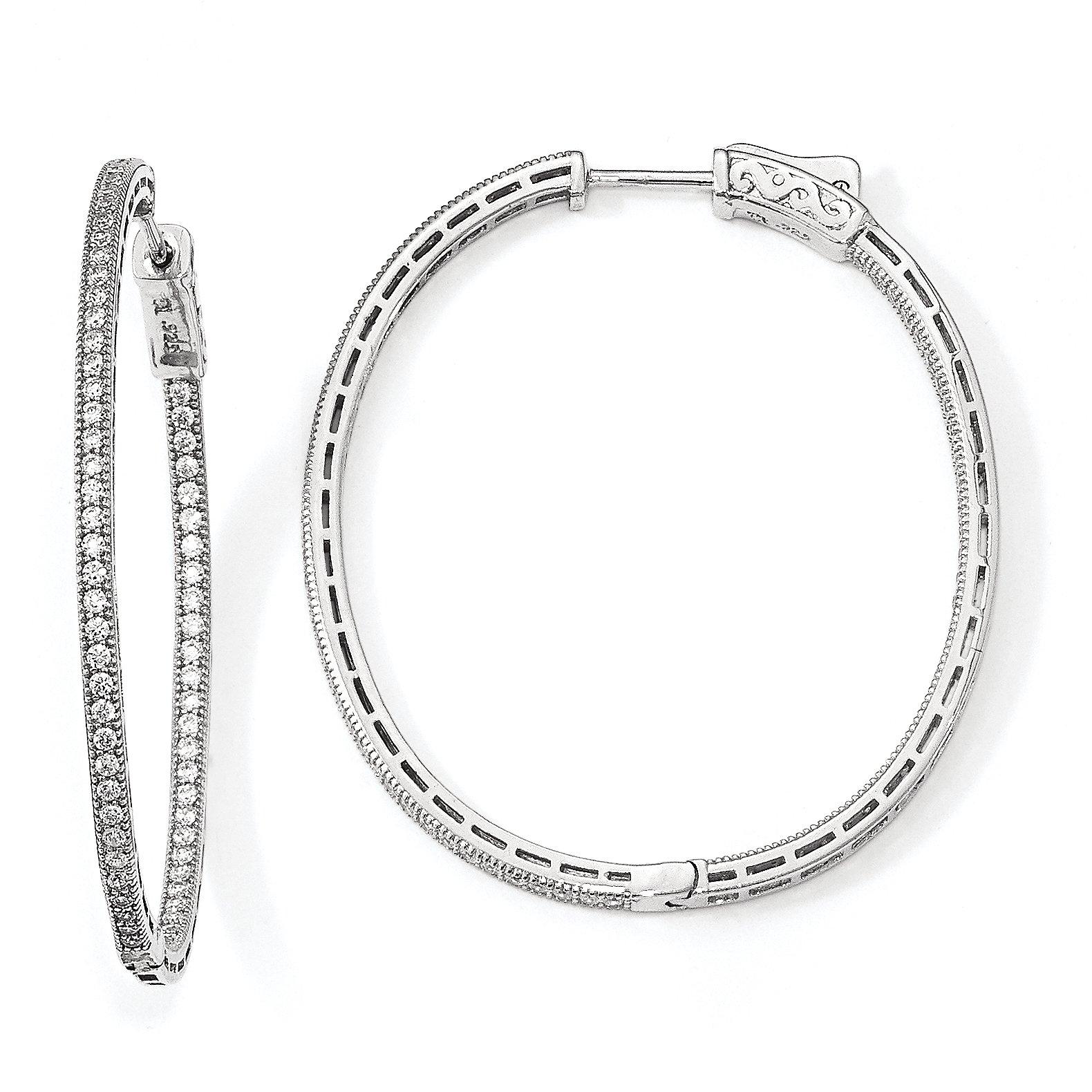 ICE CARATS 925 Sterling Silver Cubic Zirconia Cz Oval In Out Hoop Earrings Ear Hoops Set Shimmer Fine Jewelry Gift Set For Women Heart