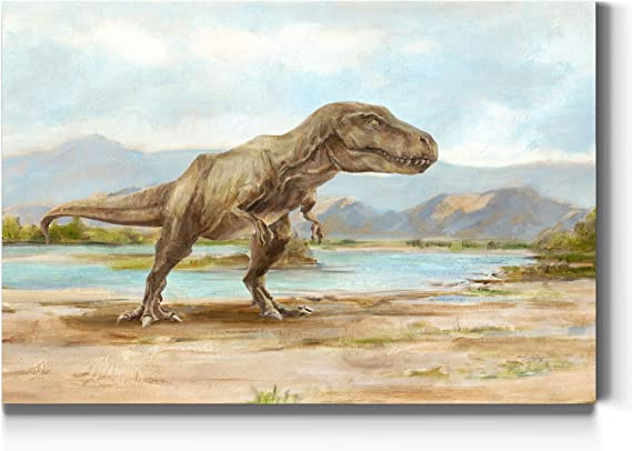 Amazon Com Renditions Gallery Tyrannosaurus Rex Illustration Wall Art T Rex Dinosaur Print For Boys Room Premium Gallery Wrapped Canvas Ready To Hang 18 In X 27 In Made In The America Canvas Print