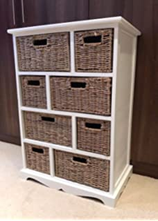 White Brown Storage Unit Wicker Baskets Chest Of Drawers Shabby Chic