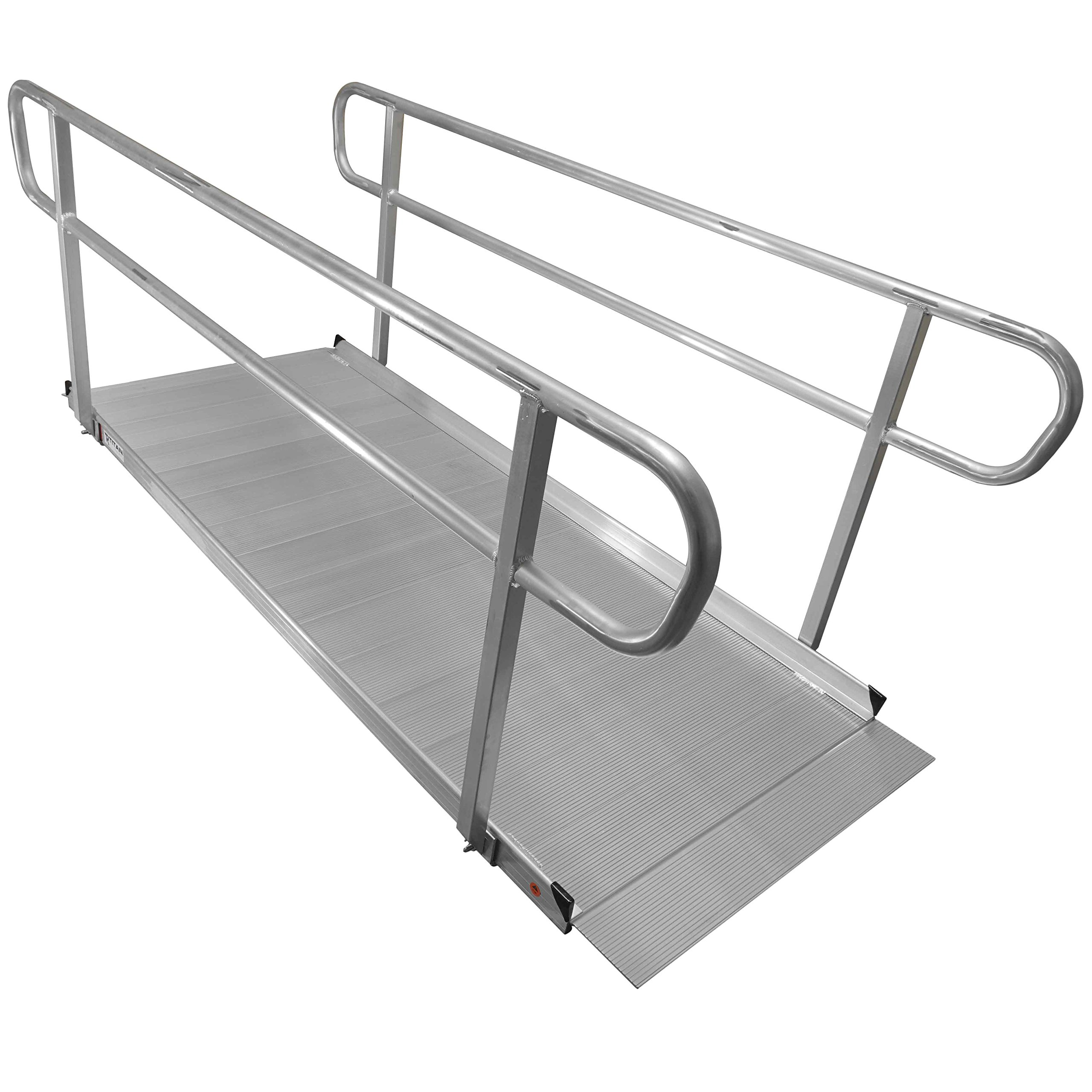 8′ Aluminum Wheelchair Entry Ramp & Handrails Solid Surface Scooter Mobility Access