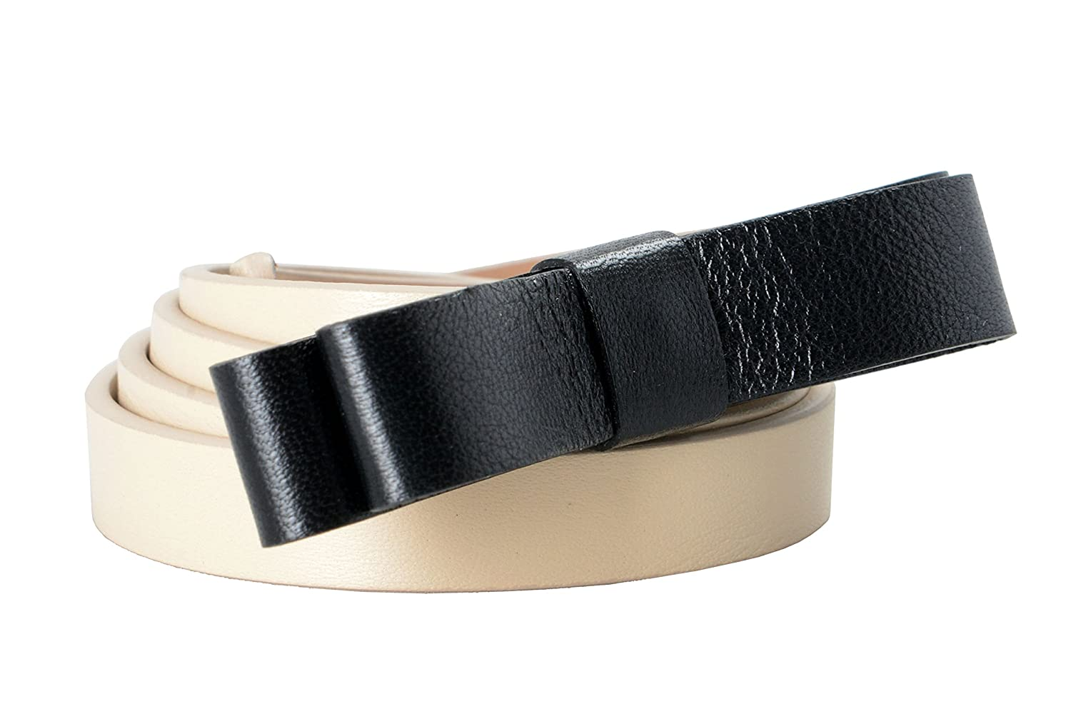 Red Valentino Leather Beige Black Bow Decorated Women's Hip Belt US 40 IT 100