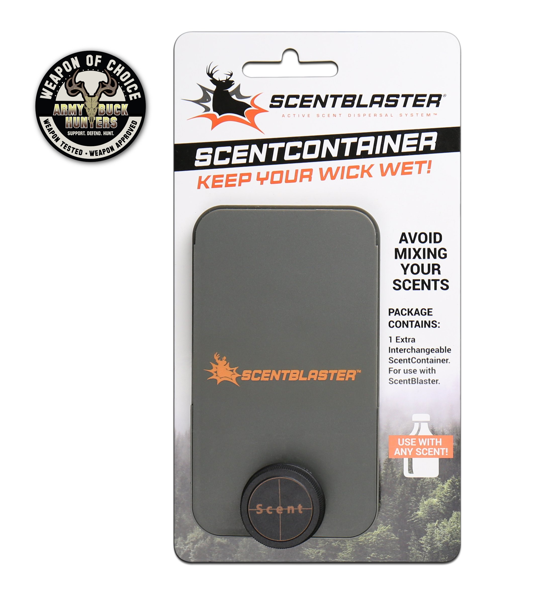 ScentContainer holds a bottle of your favorite hunting scent. Swap or store different cover & attractant scents with interchangeable ScentContainers. Use with ScentBlaster the ultimate wicking system!
