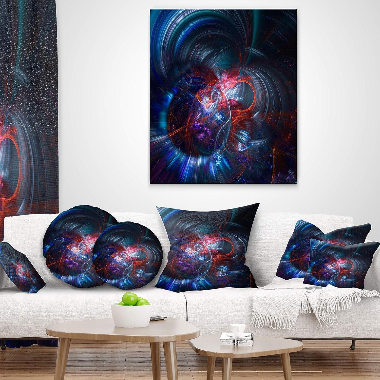 Designart CU8676-26-26 Light Blue Fractal Flower in Dark Throw Pillow 26 x 26