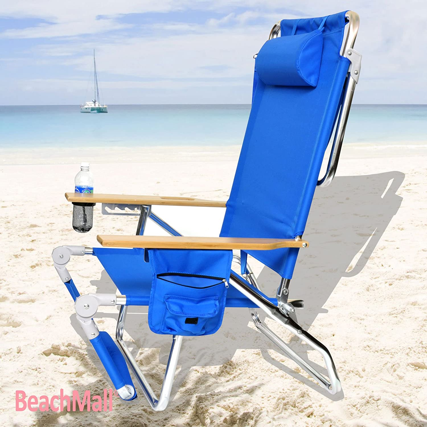 Amazon.com  BeachMall Beach Chair with Drink Holder and Storage Pouch  C&ing Chairs  Sports u0026 Outdoors  sc 1 st  Amazon.com & Amazon.com : BeachMall Beach Chair with Drink Holder and Storage ...