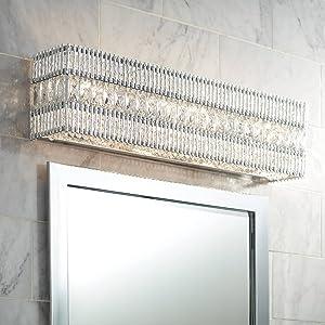 Arwen Modern Wall Mount Light LED Chrome Silver Crystal Hardwired 24 1/4