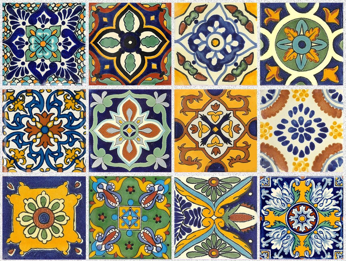 Tile Stickers Mexican Spanish 40pc 4-1/4in Peel and Stick for kitchen and bath Tr002-4Q by SnazzyDecal (Image #1)