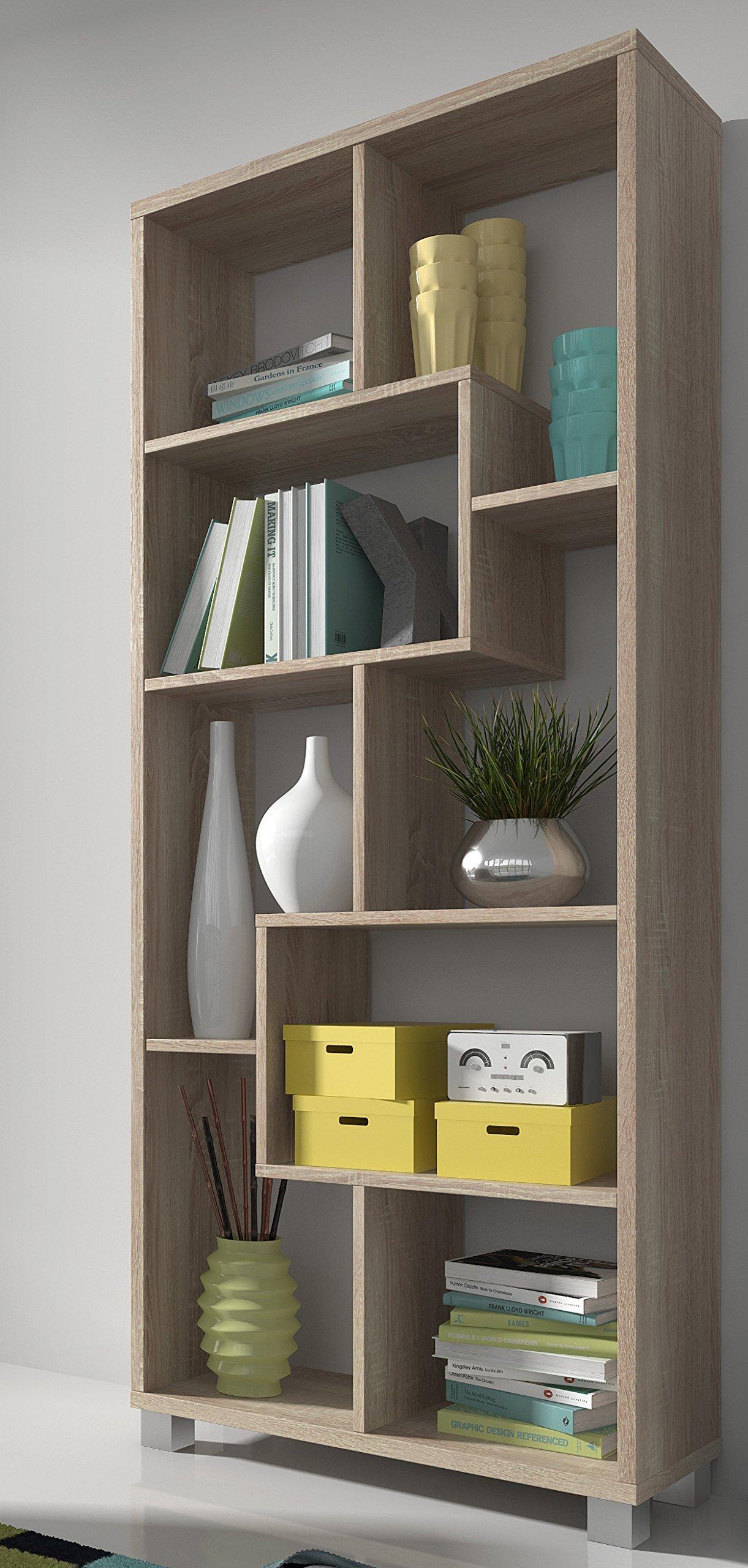 SelectionHome - Estantería librería de diseño comedor salón, color Roble Claro medidas: 68,