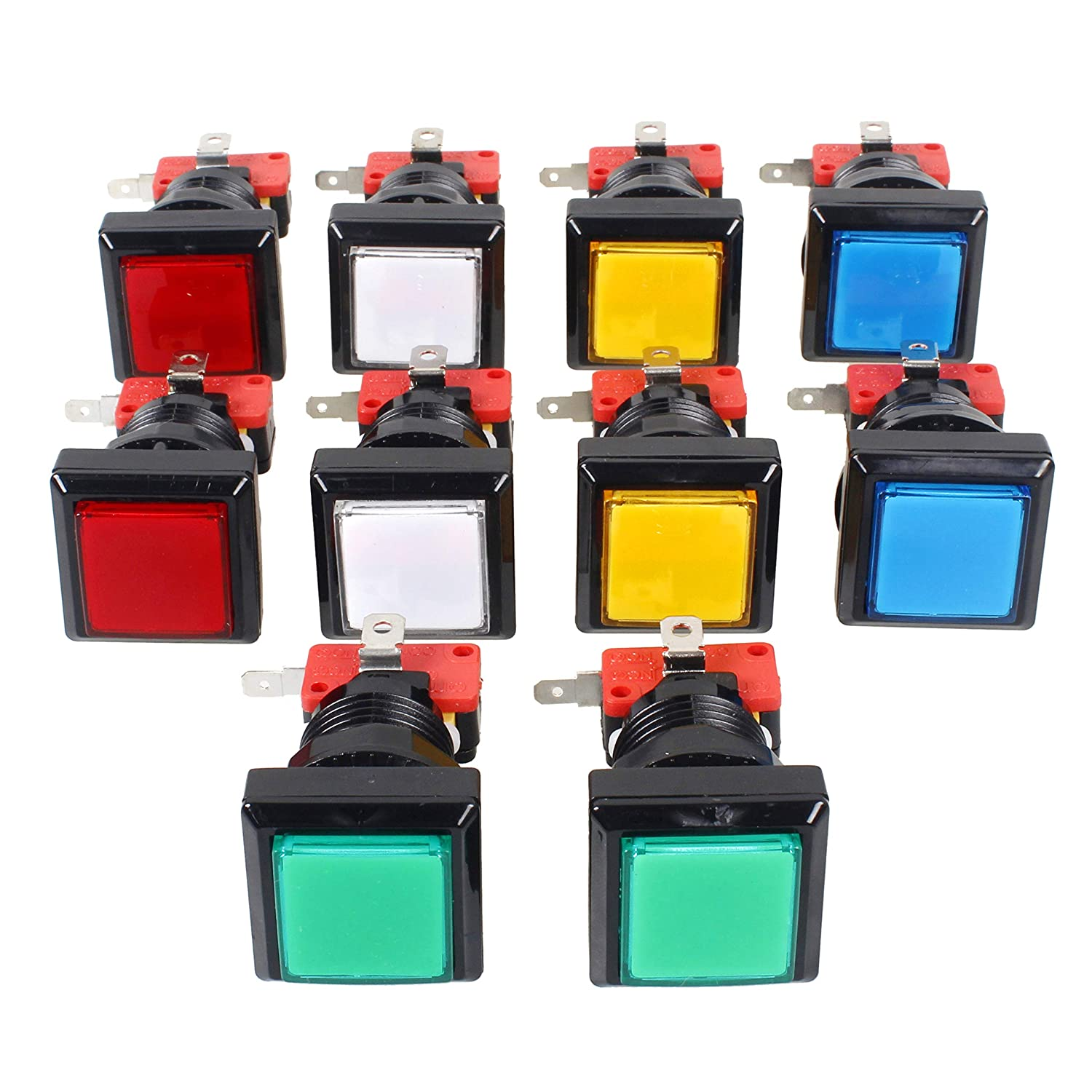 EG Starts 10x Arcade Square Shape LED Illuminated Push Button With Micro Switch For Arcade Machine Gaming Video Game Consoles Jamma Kit Parts 12V Lamp 33mm Buttons ( Each Color of 2 Piece )