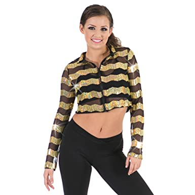 9bd1c7c9c5d6 Amazon.com: Gia Mia Girl's Sequin Dance Costume Recital Performance Hip Hop  Mesh Jacket: Clothing