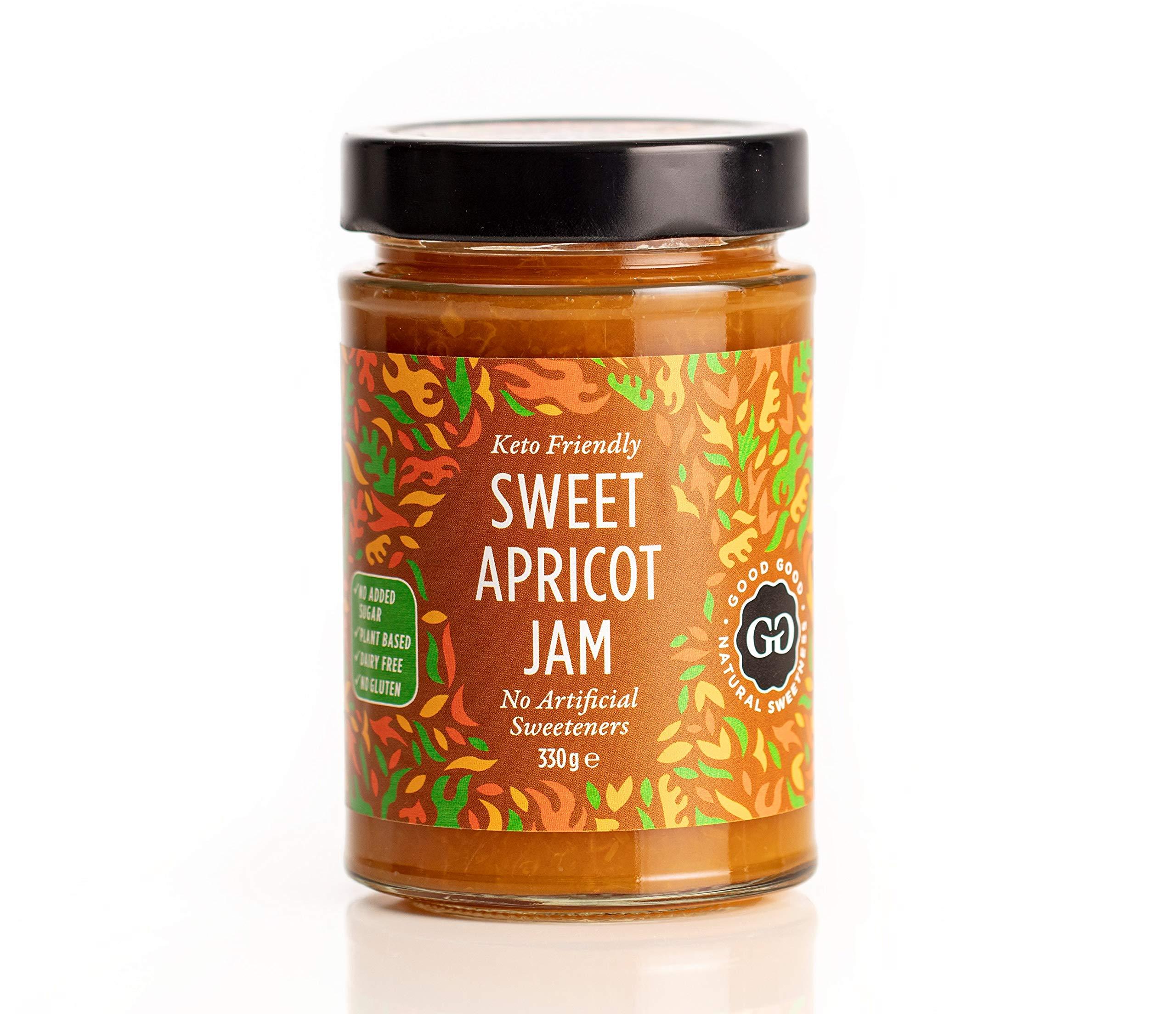 Sweet Apricot Jam by Good Good - 12 oz / 330 g - No Added Sugar Apricot Jam - Vegan - Gluten Free - Diabetic (Apricot) but is: Good Good Jam with Stevia - Apricot 330g