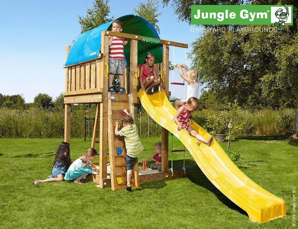 Spielturm Jungle Villa - Set mit Feuerwehrstange Sandkasten Kletterturm - Jungle Gym (inkl. Holzpaket)