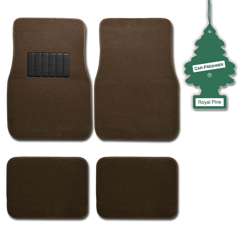 BDK Dark Beige 4 Pc Universal Carpet Car Mats w/ Heel Pad + Little Tree Royal Pine