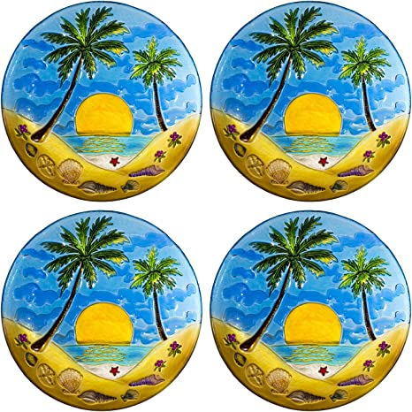 8 Palm Trees With Sunset Hand Painted Fused Glass Plates 4 Pcs Set Plates