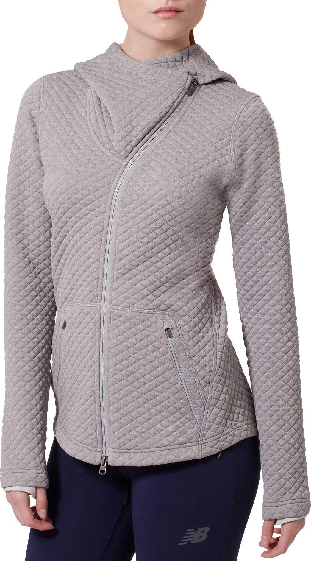 New Balance Women's Heat Loft Asymmetrical Full-Zip Jacket (XS, Grey)