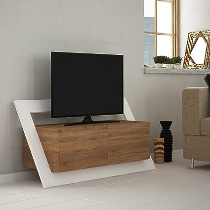 organize furniture bedroom furniture lamodahome tv stand unit two part capped modern decorative design white and wood storage multi amazoncom