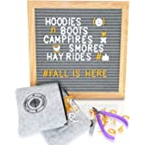 Gray Felt Letter Board 10x10 Changeable Message Board Sign with 680 White - Gold Letters and Emoji | FREE Snips and 2 Zippered Storage Bags | Photography Prop