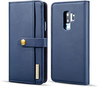 Samsung Galaxy S9 plus multifunction leather case wallet flip cover blue case black card pockets protective sleeve