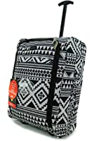 Hand Luggage 50x40x20 Wheeled Lightweight Cabin Easyjet Trolley Bag Case (Aztec Black)