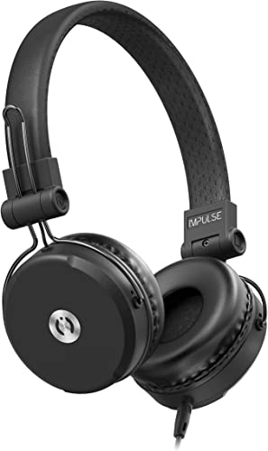 MuveAcoustics Impulse Wired On-Ear Headphones, High Performing Audio Rich Bass Compact Over The Ear Headset with in-Line Microphone Detachable Cable, Black