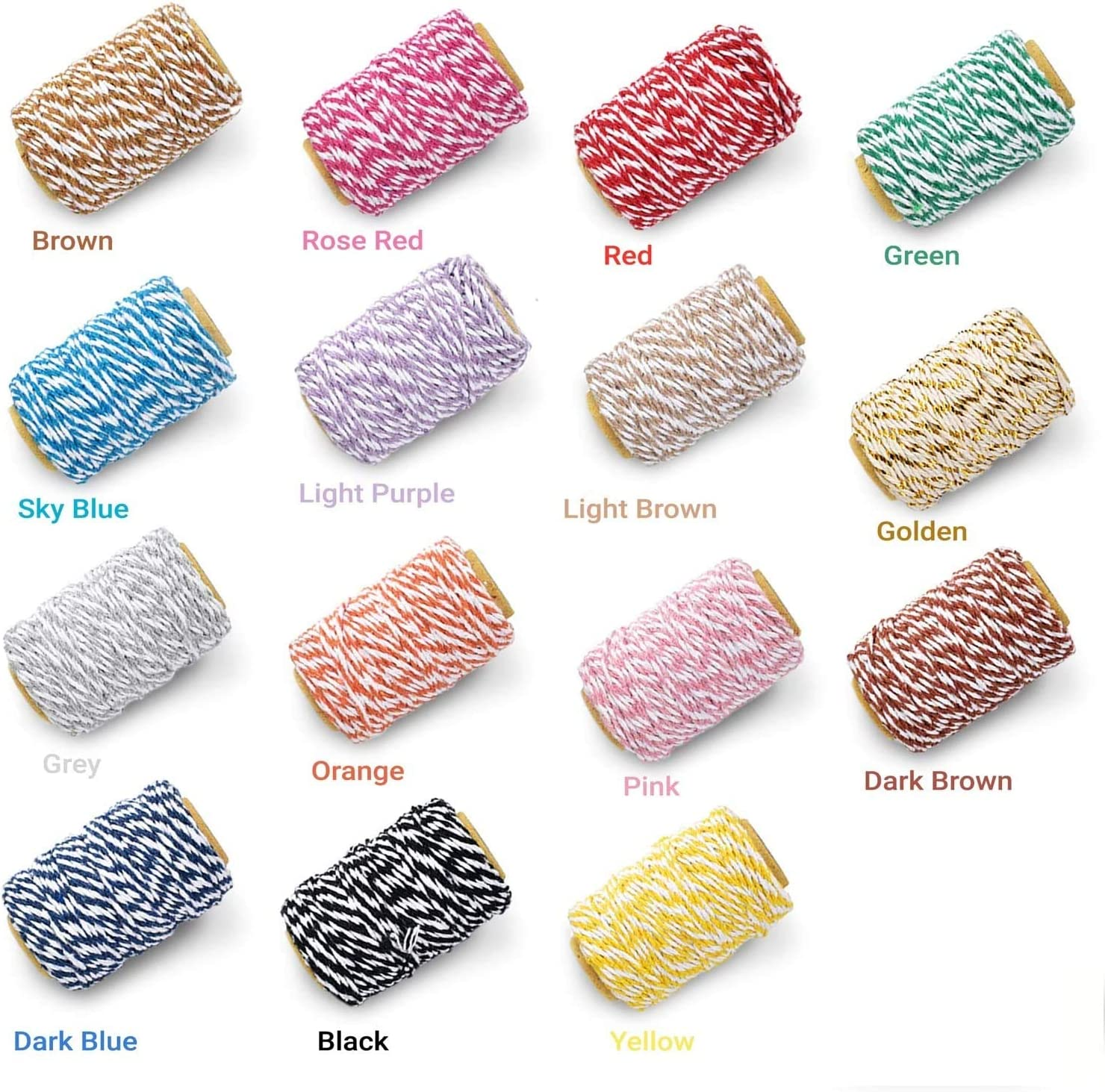 Gift Wrapping TEUN Bakers Twine Picture Display and Embellishments 15 Rolls Cotton Colourful Twine String for Artworks 82 feet// 25 Meters DIY Crafts