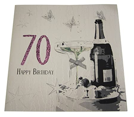 WHITE COTTON CARDS Code XDSA70 Large 70th Birthday Card Champagne And Chocolates Amazoncouk Kitchen Home