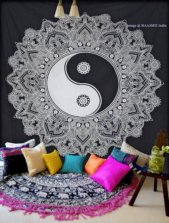 140 x 210 cm Tapiz Doble Color Blanco y Negro raajsee Yin Yang