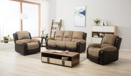 Peachy New Marsha Fabric Reclining Sofa Set Brown And Beige 3 1 Theyellowbook Wood Chair Design Ideas Theyellowbookinfo