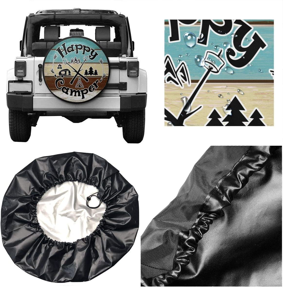 DeckrLP Car Tire Cover Lifeguard Stamp Logo Waterproof Spare Wheel Tire Cover for SUV Truck Trailer RV and Various Vehicles 14-17inch