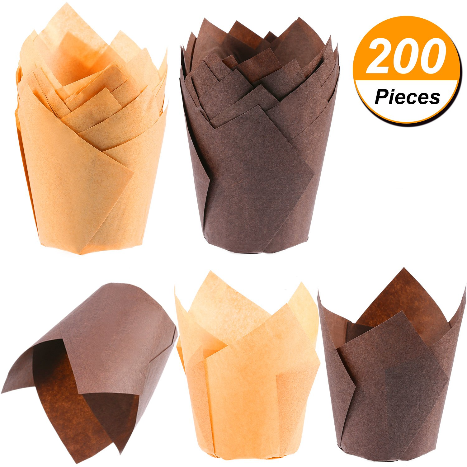 TecUnite 200 Pieces Tulip Cupcake Liner Baking Cups Paper Cupcake and Muffin Baking Cups for Weddings and Birthday, Brown and Nature Color by TecUnite