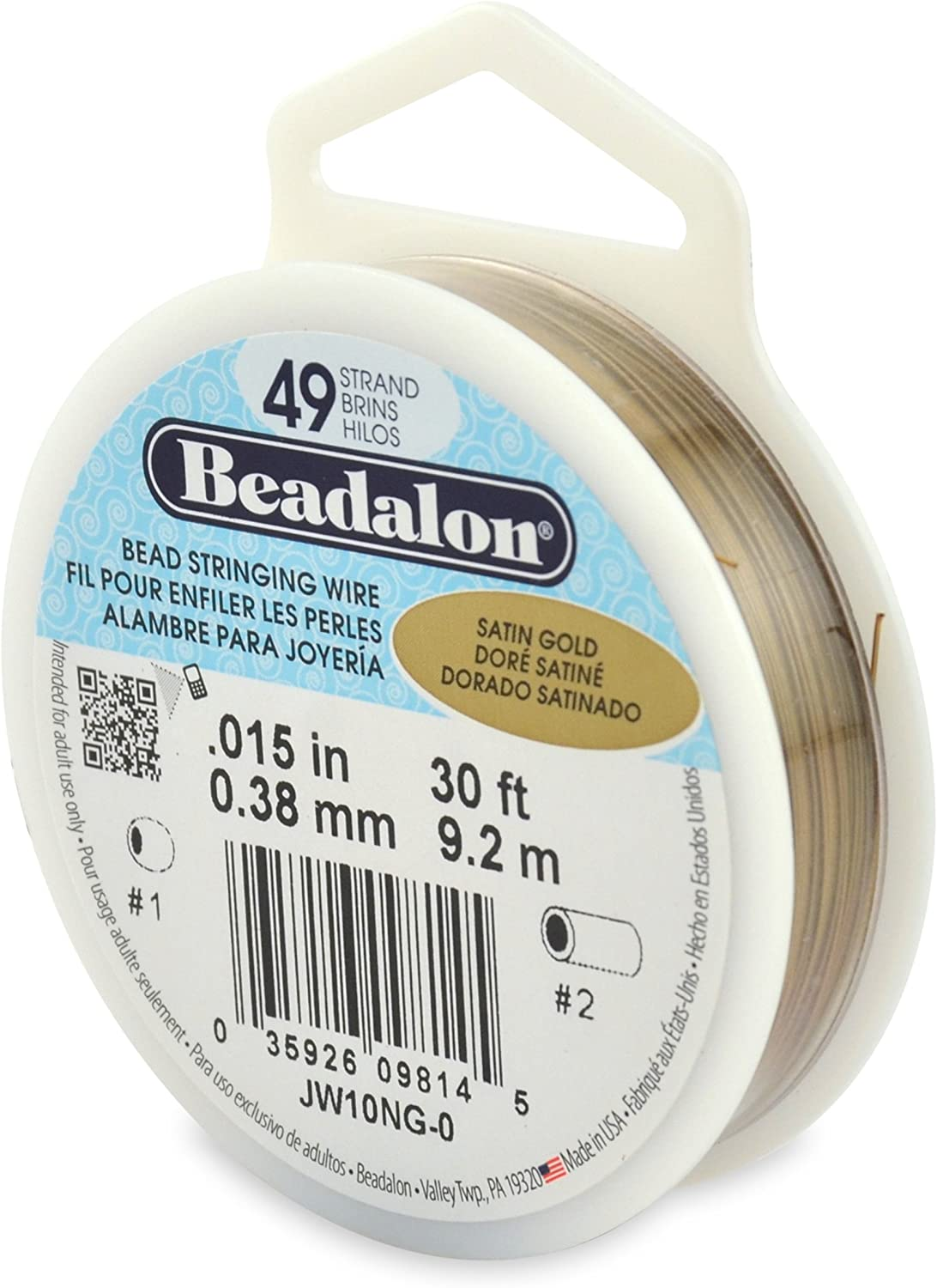 Beadalon 19-Strand Bead Stringing Wire 30-Feet 0.015-Inch Silver Color