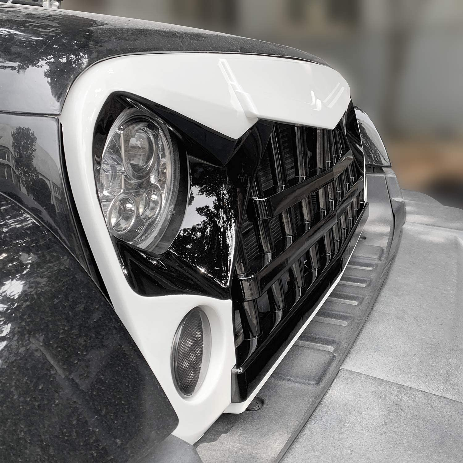 IBACP JK Front Grille Samurai Grid Grill Warrior Style Newest Grille Guard Bumper for 2007-22017 2018 Jeep Wrangler JK /& JKU 2//4 Door Unlimited Rubicon Sahara Sport Exteriro Parts Glossy Black