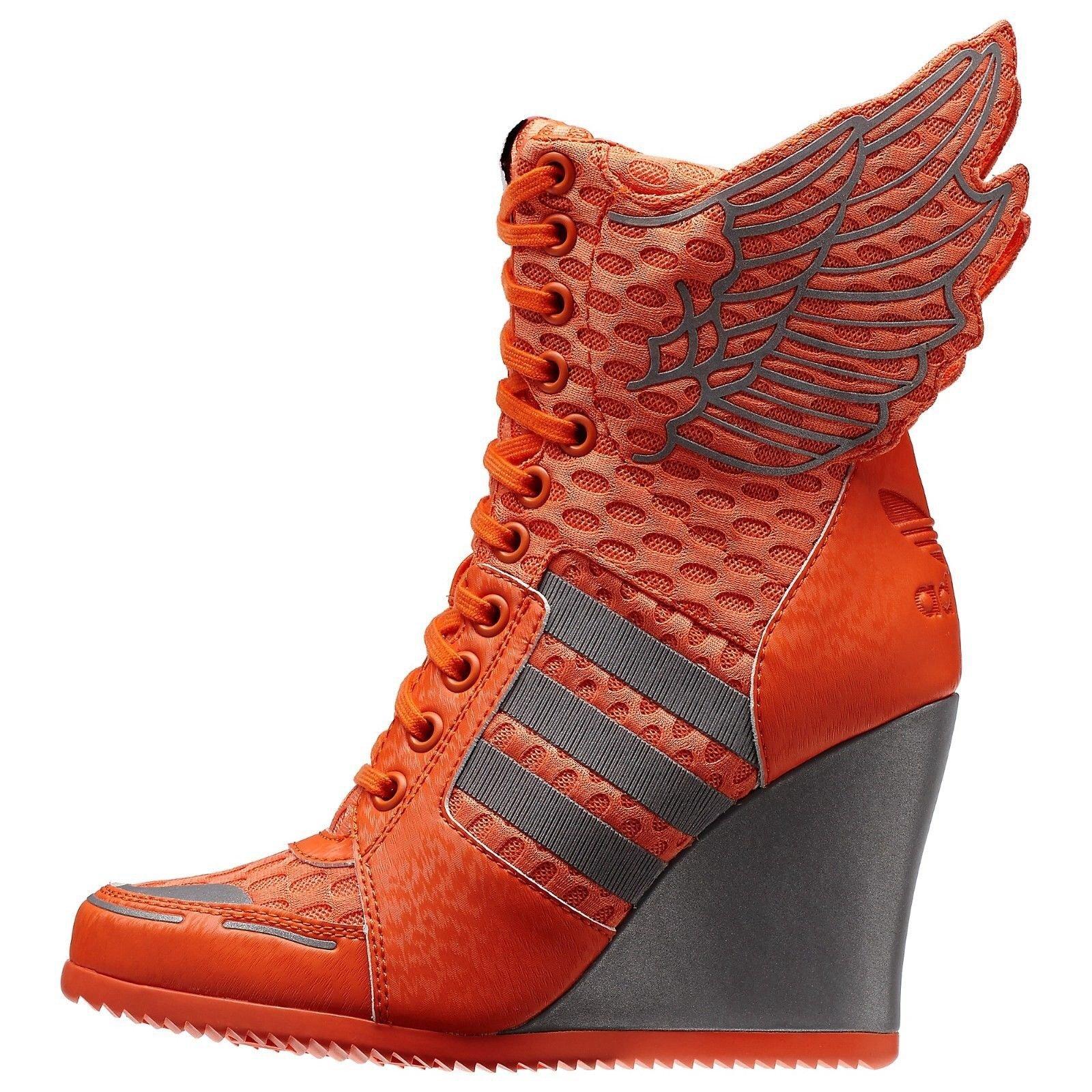 8fb5d5431af1 Galleon - Adidas Originals ObyO Jeremy Scott JS Athletic Wings Wedge Orange  D65703 Women s Boots (Size 8)