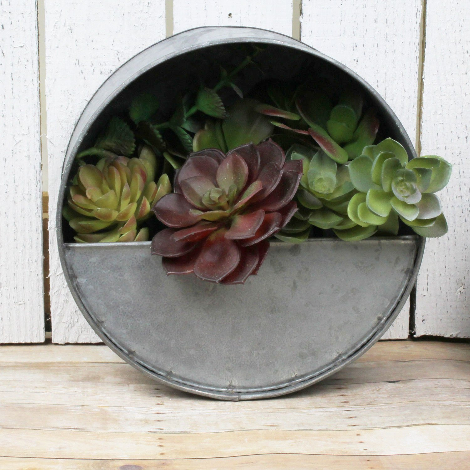Round Hanging Metal Pocket Planter - Farmhouse Style - For
