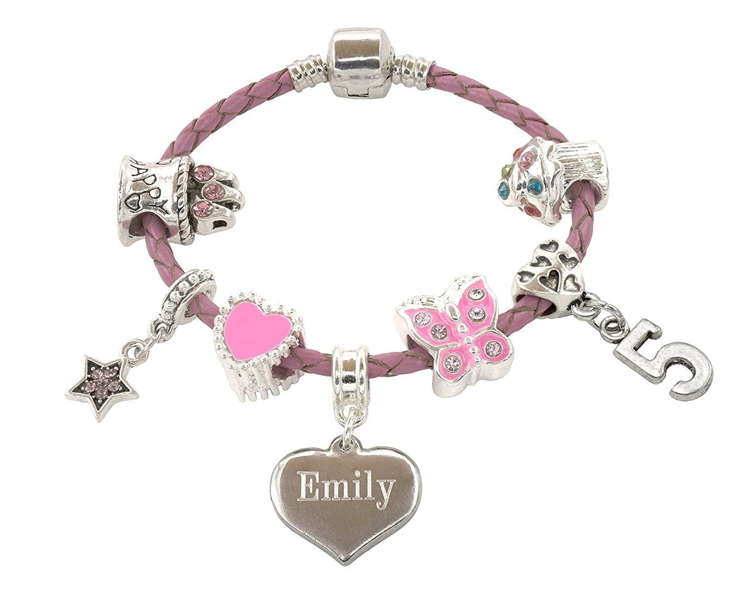 Children's Personalised & Engraved 5th Birthday Bracelet For Girls with Gift Box - Girls Jewellery Jewellery Hut SSBDAY5-16