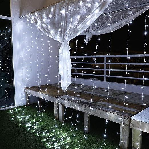 Yinuo Mirror Luces Navidad Led, Cortina de Luces 3x3㎡ Cable de Cobre 300 Led, Resistente al Agua, 31v, 8 Modos de Luz, Navidad Decoración, Fiestas, ...