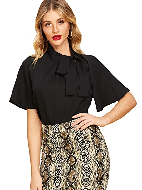 6114d0e493d SheIn Women s Casual Side Bow Tie Neck Short Sleeve Blouse Shirt Top  X-Small Black