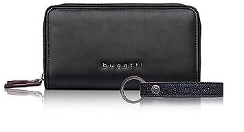 Bugatti Reißverschluss Geldbörse Leder RFID Portemonnaie Geldbeutel schwarz