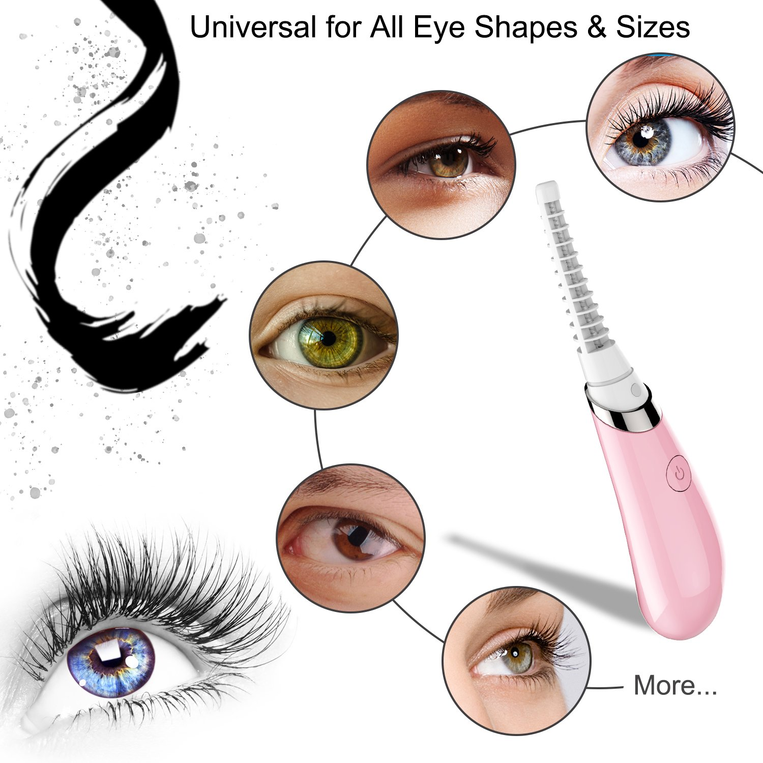 Amazon.com : Tuisy Electric Heated Eyelash Curler - Rechargeable Automatic Fast Heated Compact Lash Curler with Comb Long Lasting Fits All Eye Shapes : ...