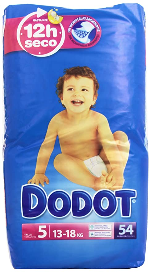 e3bd79278a6b Dodot Bebé-Seco Pañales con Canales de Aire. Dodot - Pañuelos para bebés,  talla 5, 13-18 kg, hasta 12h