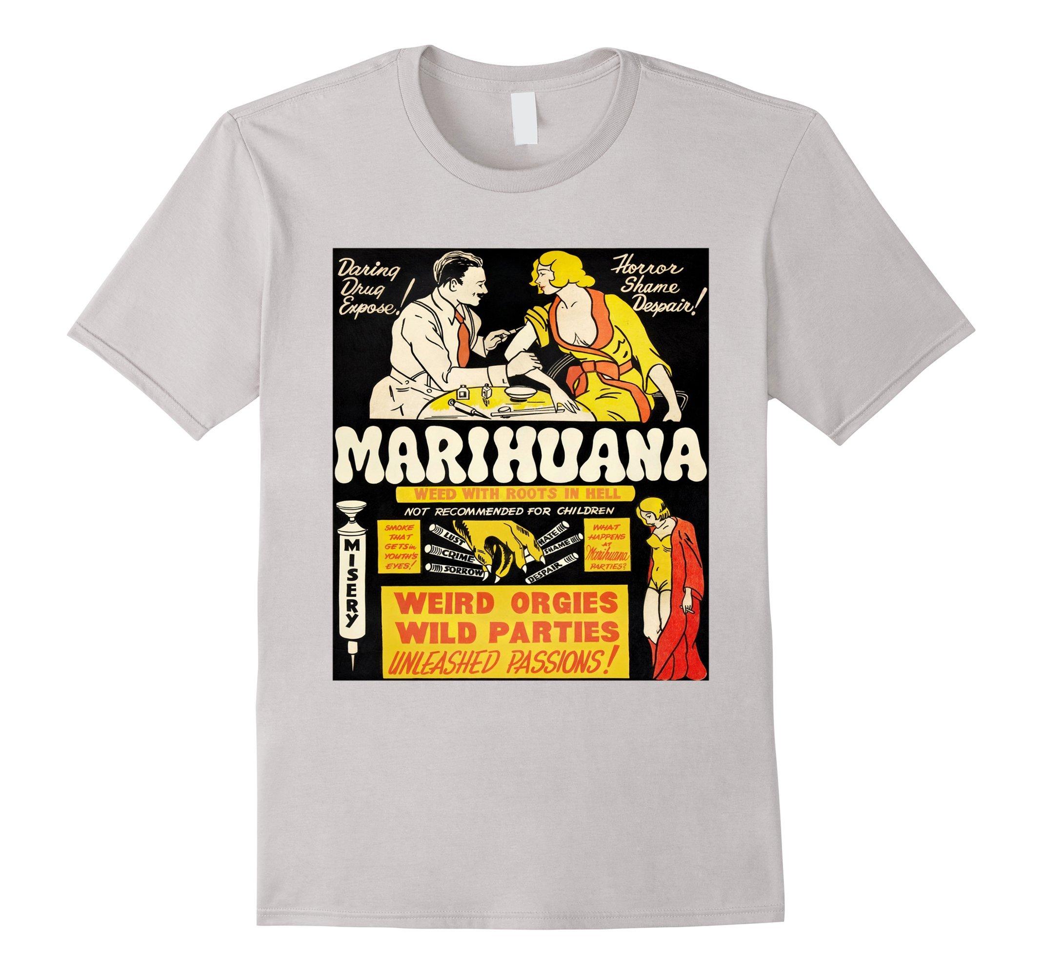 Marijuana Cannabis Propaganda Funny T-Shirt Graphic Tee Weed