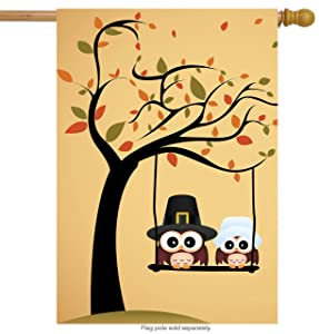 "ShineSnow Lovely Cute Owl Tree House Flag 28"" x 40"" Double Sided, Polyester Yellow Funny Thanksgiving Welcome Yard Garden Flag Banners for Patio Lawn Home Outdoor Decor"