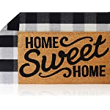 "Sierra Concepts Pure Coco Coir Front Door Welcome Mat Outdoor Rug 30""x17"" + Buffalo Plaid Rug Checkered Layered Black…"