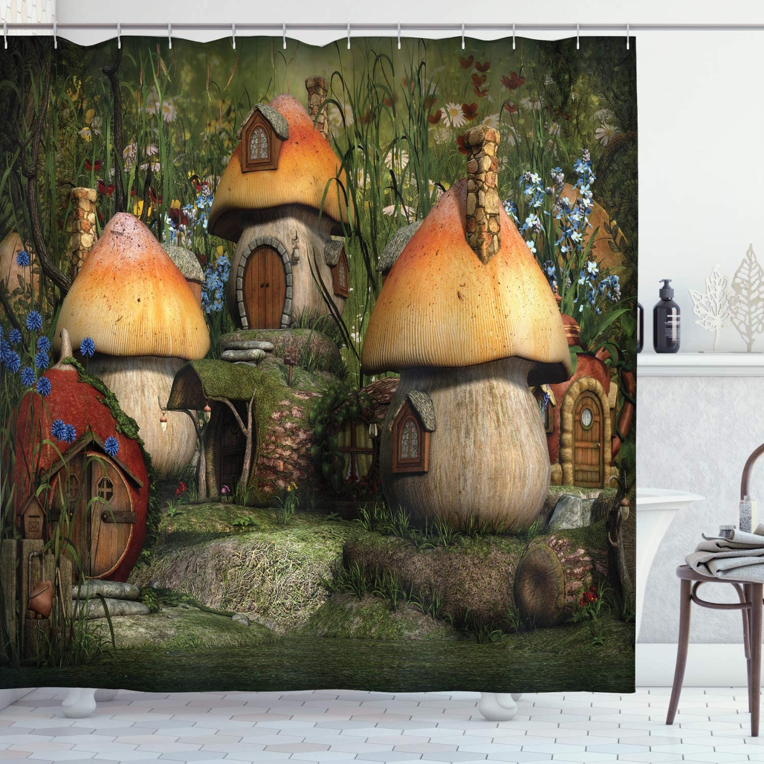 "Ambesonne Nature Shower Curtain, Mushroom Houses in Forest Fairy Tale Fantasy Wonderland Dwarf Kid Nursery Theme, Cloth Fabric Bathroom Decor Set with Hooks, 75"" Long, Taupe"