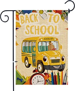 Bonsai Tree Burlap Back to School Garden Flags 12x18 Prime Double-Sided Seasonal Yard Outdoor Decorative Flag Banner Stopper & Anti-Wind Clip