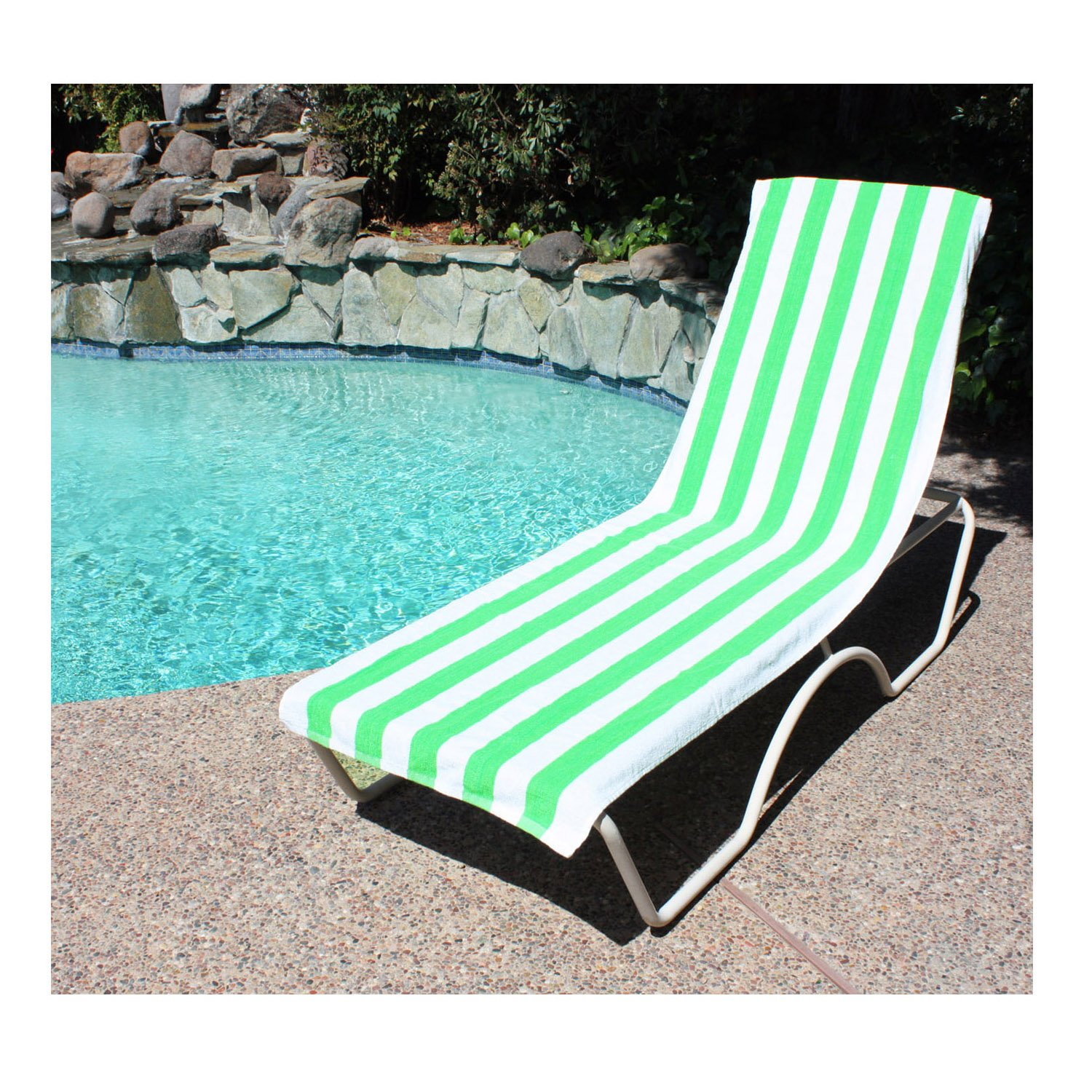 Amazon.com: J U0026 M Home Fashions Lounge Chair Beach Towel With Fitted  Pocket, 26 Inch By 82 Inch, Top Green: Home U0026 Kitchen