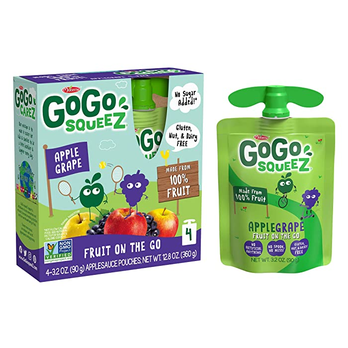 GoGo squeeZ Applesauce, Apple Grape, 3.2 Ounce (4 Pouches), Gluten Free, Vegan Friendly, Unsweetened Applesauce, Recloseable, BPA Free Pouches
