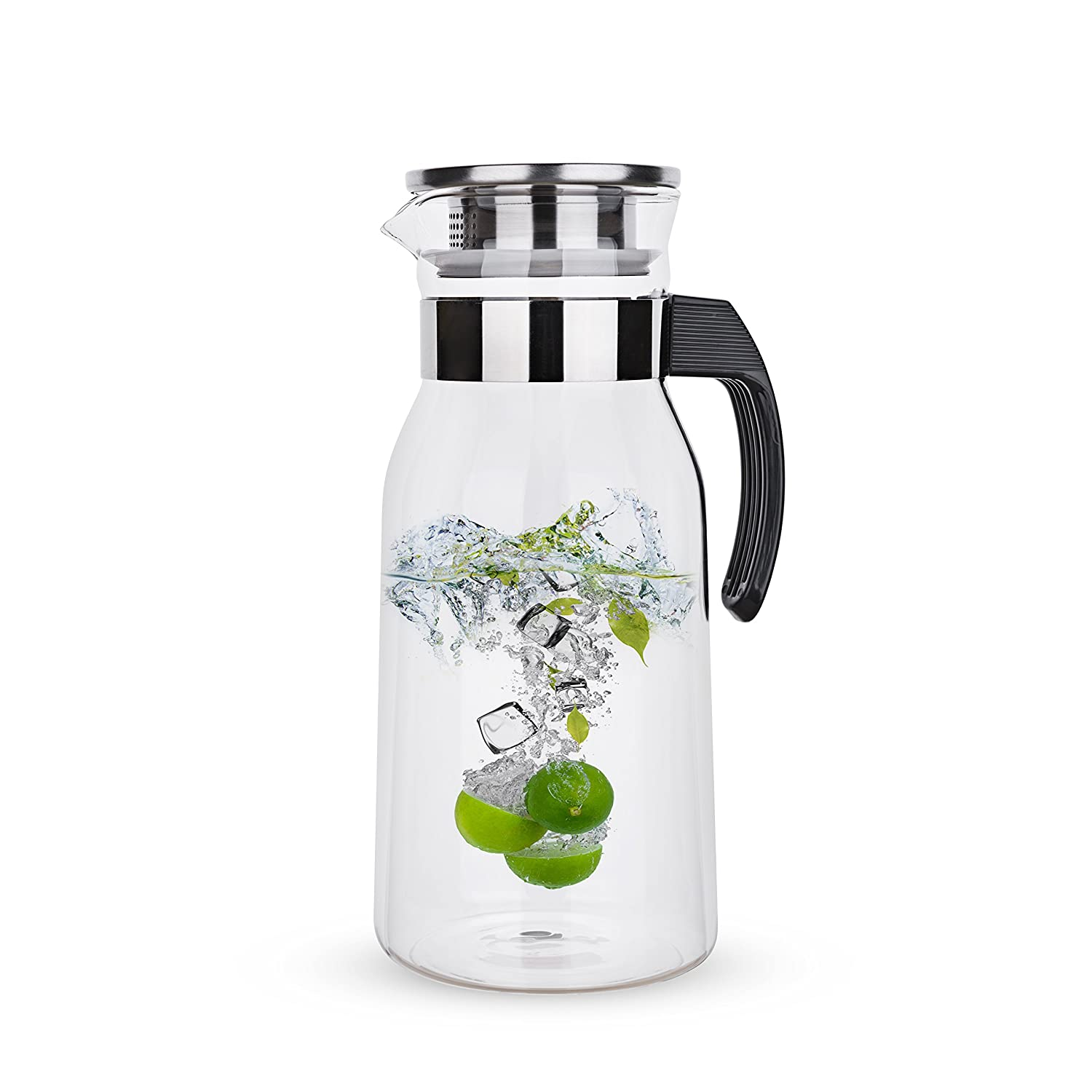 Handmade Water Jug for Hot//Cold Water Black Handle 65 Ounces Glass Pitcher with Handle and Lid Ice Tea and Juice Beverage